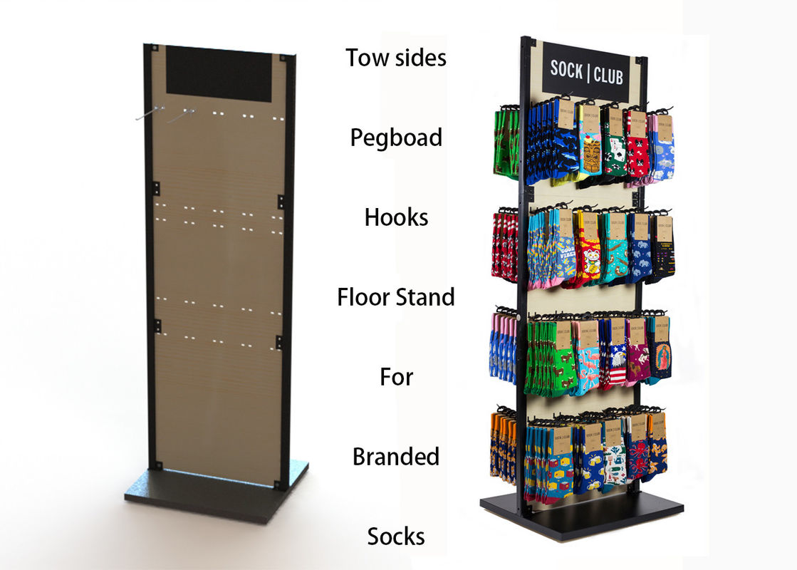 Customized MDF Branded Display Stands Wood Floor Stands For Socks